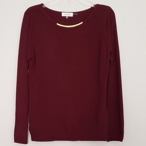 Calvin Klein Plum Sweater with Gold Accent Collar
